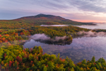 Ground Fog at Predawn over Mount Monadnock and Cummings Meadow Reservoir in Fall, Jaffrey, NH