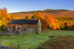Old Wooden Barn and Wooden Fences in Fall with Mount Monadnock in Background, Jaffrey, NH