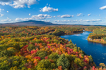 Fall Foliage at Mountain Brook Reservoir with Mount Monadnock in Distance, Jaffrey, NH