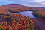 Dark Clouds at Predawn over Cummings Meadow Reservoir and Mount Monadnock in Fall, Jaffrey, NH