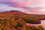 Sunrise over Cummings Meadow Reservoir and Mount Monadnock in Fall, Jaffrey, NH