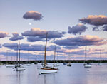 Moon and Late Evening Light in Vineyard Haven Harbor