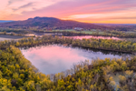 Sunrise over Small Pond off Connecticut River in Fall, Holyoke Range in Background, View from Northampton, MA
