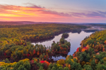 Colorful Sunrise at Paradise Pond and Leominster State Forest in Fall, Princeton, MA