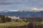 Mount Washington Hotel and Resort with Snow-capped Mount Washington and Presidential Range in Distance, White Mountains Region, Bretton Woods, Carroll, NH