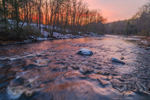 Millers River Flows through Bearsden Forest Conservation Area at Sunset, Athol, MA