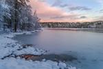 Sunset over Mamjohn Pond Reservoir (aka Cowee Pond) after Fresh Snowfall, Gardner, MA