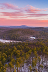 Colorful Sunrise over Forests with Mt. Monadnock in Distance, Athol, MA