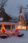 Gazebo with Holiday Lights and First Church of Templeton on Templeton Common at Dusk, Templeton, MA