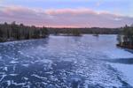 Winter Sunrise over Snow Patterns on Frozen Harvard Pond, Petersham, MA