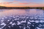 Snow Patterns on Ice at Sunset at Royalston Eagle Reserve, Royalston, MA