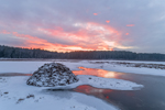 Sunrise over Beaver Lodge in Winter at Royalston Eagle Reserve, Royalston, MA