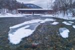 West Dummerston Covered Bridge in Winter (Longest Covered Bridge Entirely in Vermont) Spanning West River, Dummerston, VT