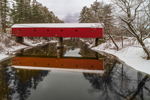 Cresson Covered Bridge (Sawyer's Crossing Covered Bridge) in Winter, Built 1859, Spanning Ashuelot River, Swanzey, NH