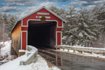 Slate Covered Bridge Spanning Ashuelot River in Winter, Swanzey, NH