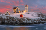 Holiday Lights on Nubble Light (Cape Neddick Light) at Sunrise, Cape Neddick, York, ME