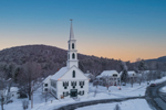 Early Morning Light over Newfane (First) Congregational Church in Winter, Newfane Village National Historic District, Newfane, VT
