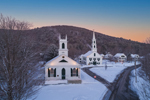 Early Morning Light over Union Hall and Newfane (First) Congregational Church in Winter, Newfane Village National Historic District, Newfane, VT