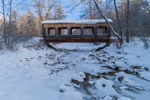 Wooden Covered Bridge on Island Lane Spanning West River after Fresh Snowfall, Jamaica, VT
