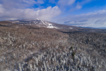 Green Mountain National Forest with Bromley Mountain Ski Area after Fresh Snowfall, View from Winhall, VT