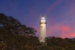 Late Evening View of St. Simons Island Lighthouse with Lamp Lit, St. Simons Island, GA