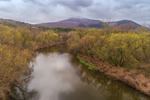 Hoosic River with Mount Williams in Distance in Early Spring, View from North Adams, MA