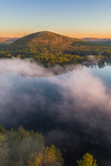 Sunrise View of Tully Mountain and Tully Pond with Early Morning Ground Fog in Early Spring, Orange, MA