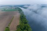 Farmland along Connecticut River with Early Morning Ground Fog, Sunderland, MA