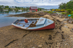 Work Skiff with Lobster Shack on Mackerel Cove in Background, Casco Bay Region, Bailey Island, Town of Harpswell, ME