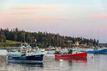 Colorful Lobster Boats at Sunset, Bass Harbor, Village of Bernard, Tremont, ME
