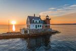 Sunrise at Rockland Breakwater Light, Rockland Harbor, West Penobscot Bay, Rockland, ME