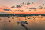 Sunset over Boats in Bass Harbor with Village of Bernard in Distance, View from Bass Harbor, Tremont, ME