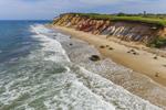 Gay Head Cliffs and Moshup Beach with Gay Head Lighthouse in Distance, Martha's Vineyard, Aquinnah, MA
