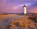 Edgartown Lighthouse with Holiday Wreath at Sunset, Martha's Vineyard, Edgartown, MA