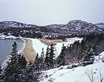 View of Sand Beach and The Beehive in Winter from Great Head, Acadia National Park