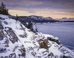 Fresh Snow on Otter Cliffs with View of The Beehive, Gorham and Champlain Mountains in Distance at Sunrise, Acadia National Park, Mt. Desert Island, ME