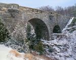 View of Carriage Road Bridge over Duck Brook in Winter, Acadia National Park, Mount Desert Island, Bar Harbor, ME