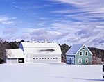Large Gray and White Barn and Smaller Teal Barn in Winter with Blue Sky and Clouds, Mt. Desert Island
