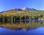 Clear Skies over Mt. Katahdin and Round Pond in Fall with Knife's Edge
