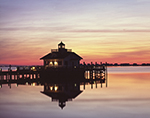 Sunrise at Roanoke Marshes Lighthouse, Part of North Carolina Maritime Museum, Roanoke Island Festival Park, Outer Banks