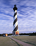 Cape Hatteras Light with Blue Sky and Cirrus Clouds in Evening Light,   Cape Hatteras National Seashore,