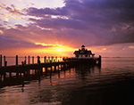 Sunrise at Roanoke Marshes Lighthouse, Part of North Carolina Maritime Museum, Roanoke Island Festival Park, Outer Banks,