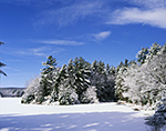 Frozen Quabbin Reservoir and Surrounding Woodlands after Fresh Snow, Quabbin Reservation,