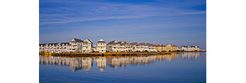 Houses along Shoreline of Roanoke Island, Rudder Village, Outer Banks,