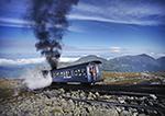 Cog Railway on Mt. Washington with Presidential Range in Background,