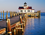 Pier and Roanoke Marshes Lighthouse, Part of North Carolina Maritime Museum, Roanoke Island Festival Park, Outer Banks,