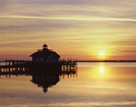 Sunrise at Roanoke Marshes Lighthouse, Part of North Carolina Maritime Museum, Roanoke Island Festival Park, Outer Banks,