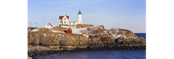 Nubble Light on Clear Winter Day, Cape Neddick