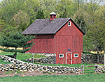 Red Barn and Stonewalls in Spring