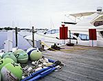 Mooring Balls and Modern Power Cruiser at Block Island Boat Basin